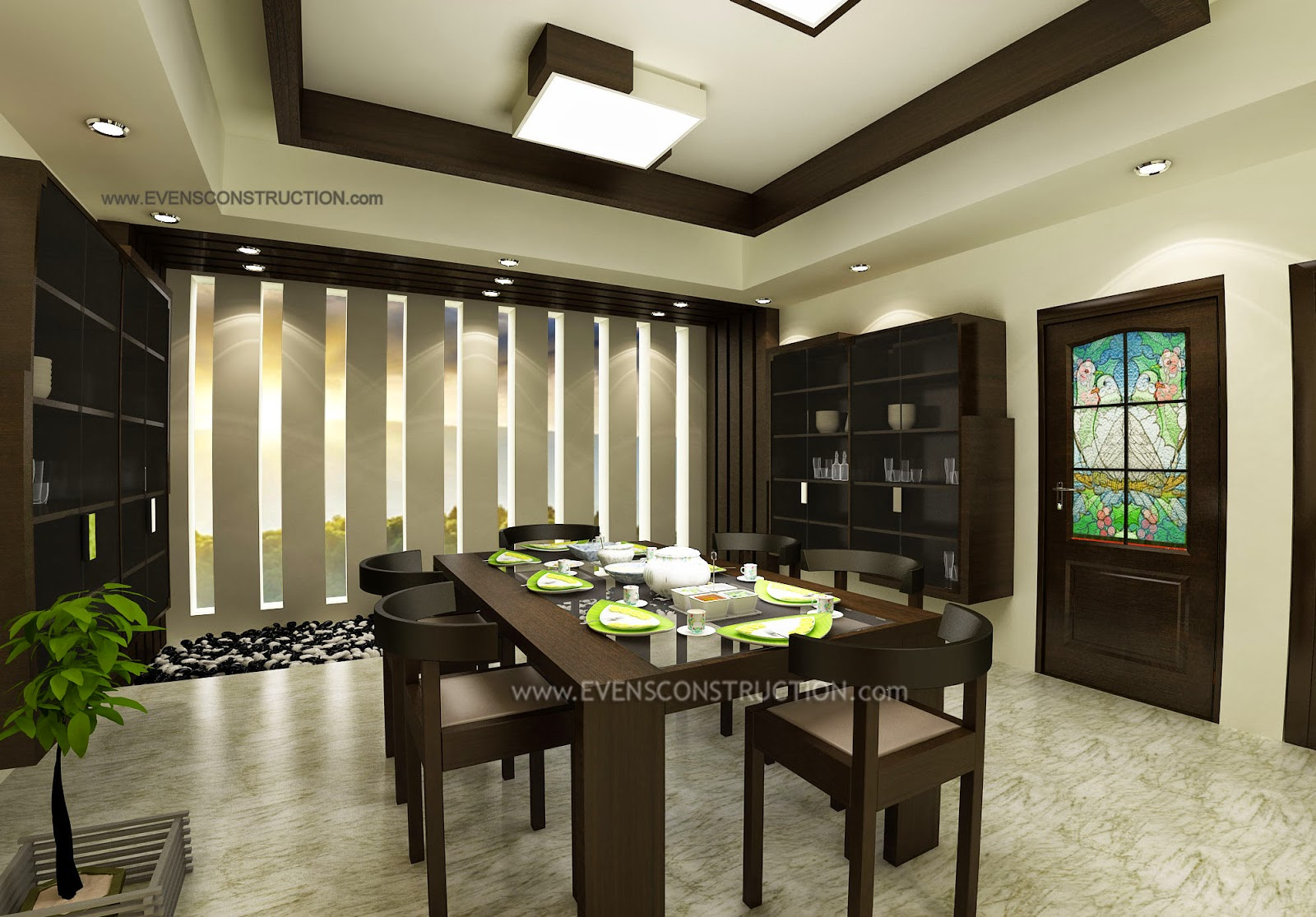 Evens construction pvt ltd modern dining room for Dining hall wall design