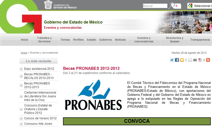Inscripcion Formato para Becas Pronabes calendario registro 2012