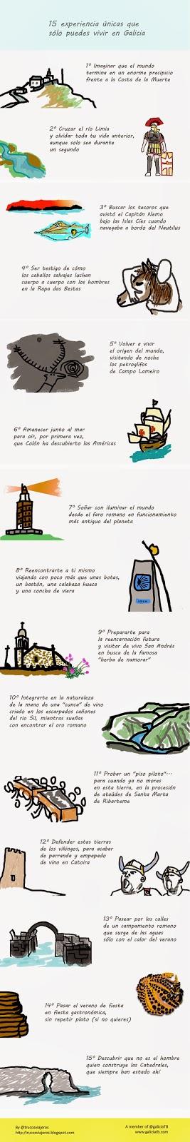 infografía 15 experiencias unicas vivir galicia by trucosviajeros