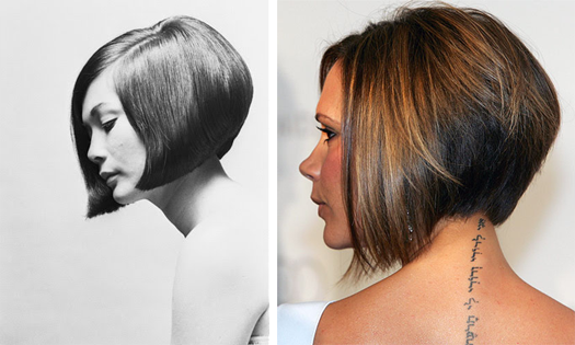 Angled cut: Nancy Kwon (Vidal Sassoon) and Victoria Beckham