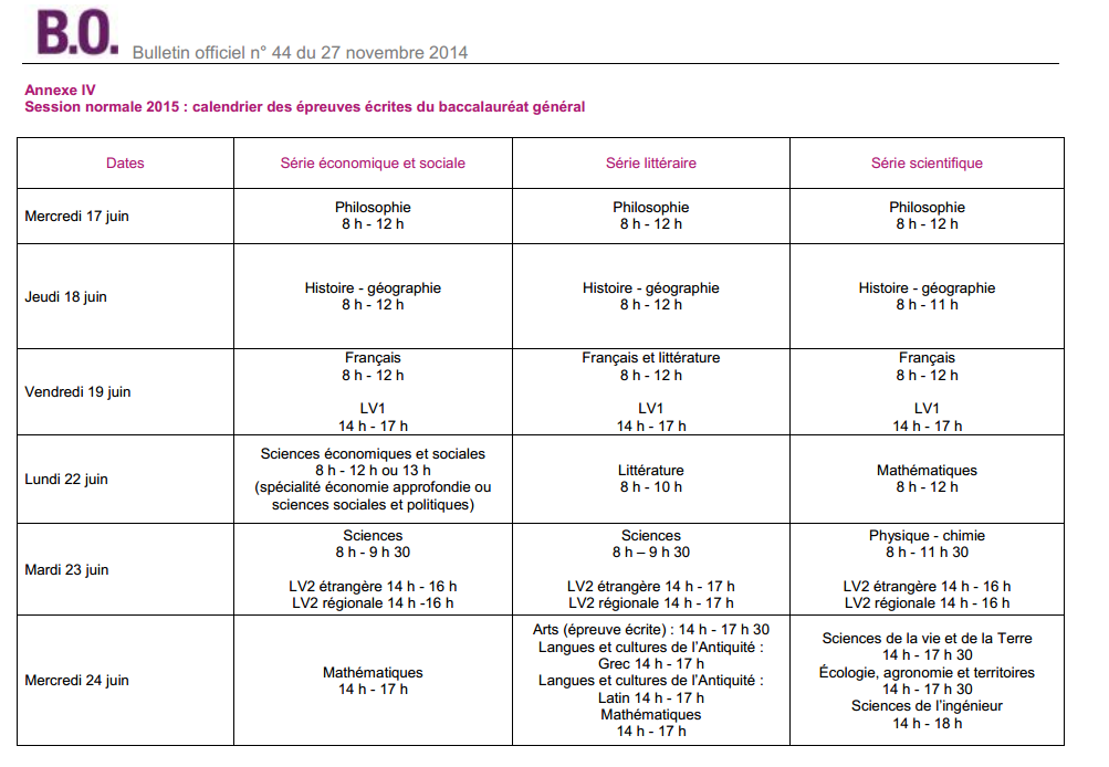 calendrier bac 2015