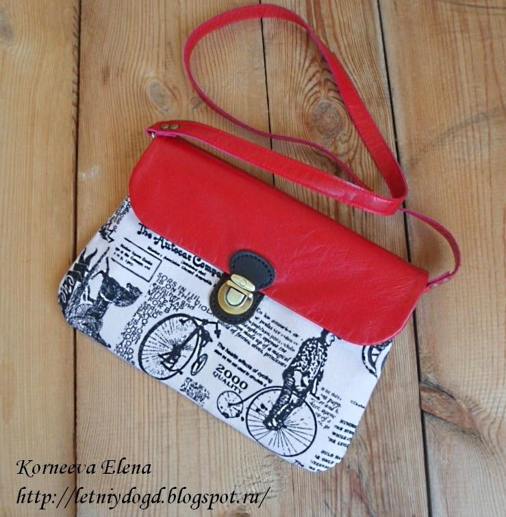 сумочка из ткани с газетным принтом