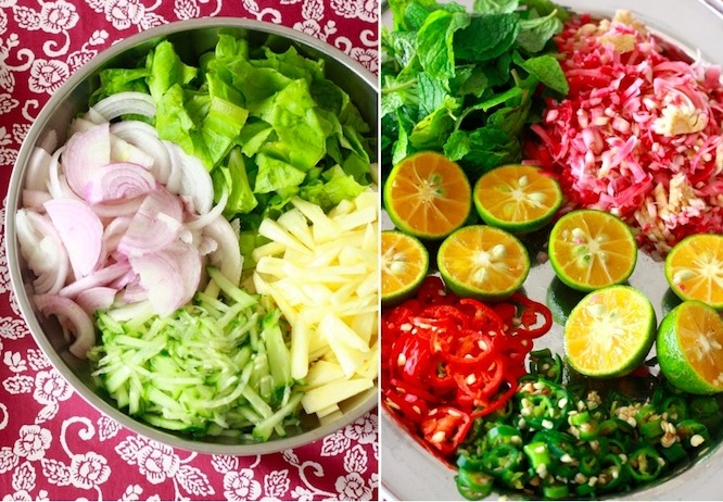garnish vegetables, spices, herbs for laksa recipe