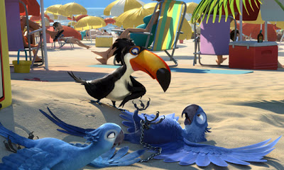 Blu, Jade e Fernando na praia em Rio