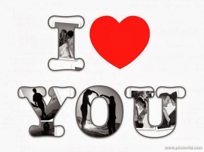 montagem com frase eu te amo