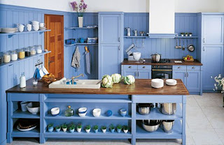 simple blue kitchen cabinets