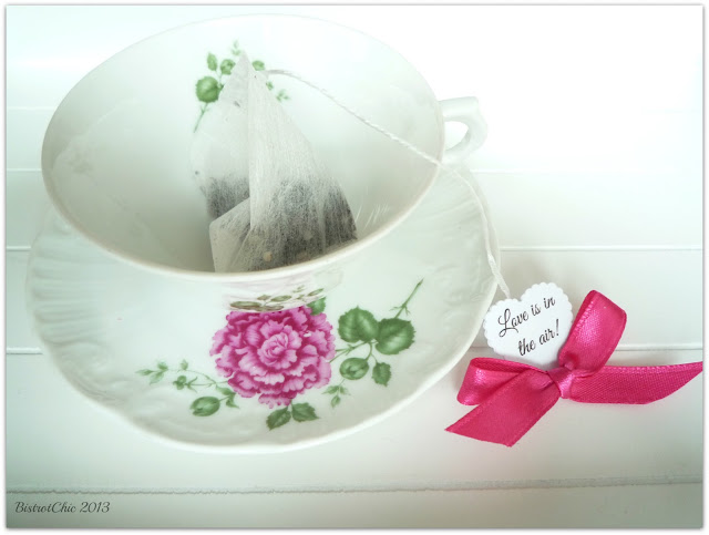 Tea cup with a tea of love for Valentine from BistrotChic