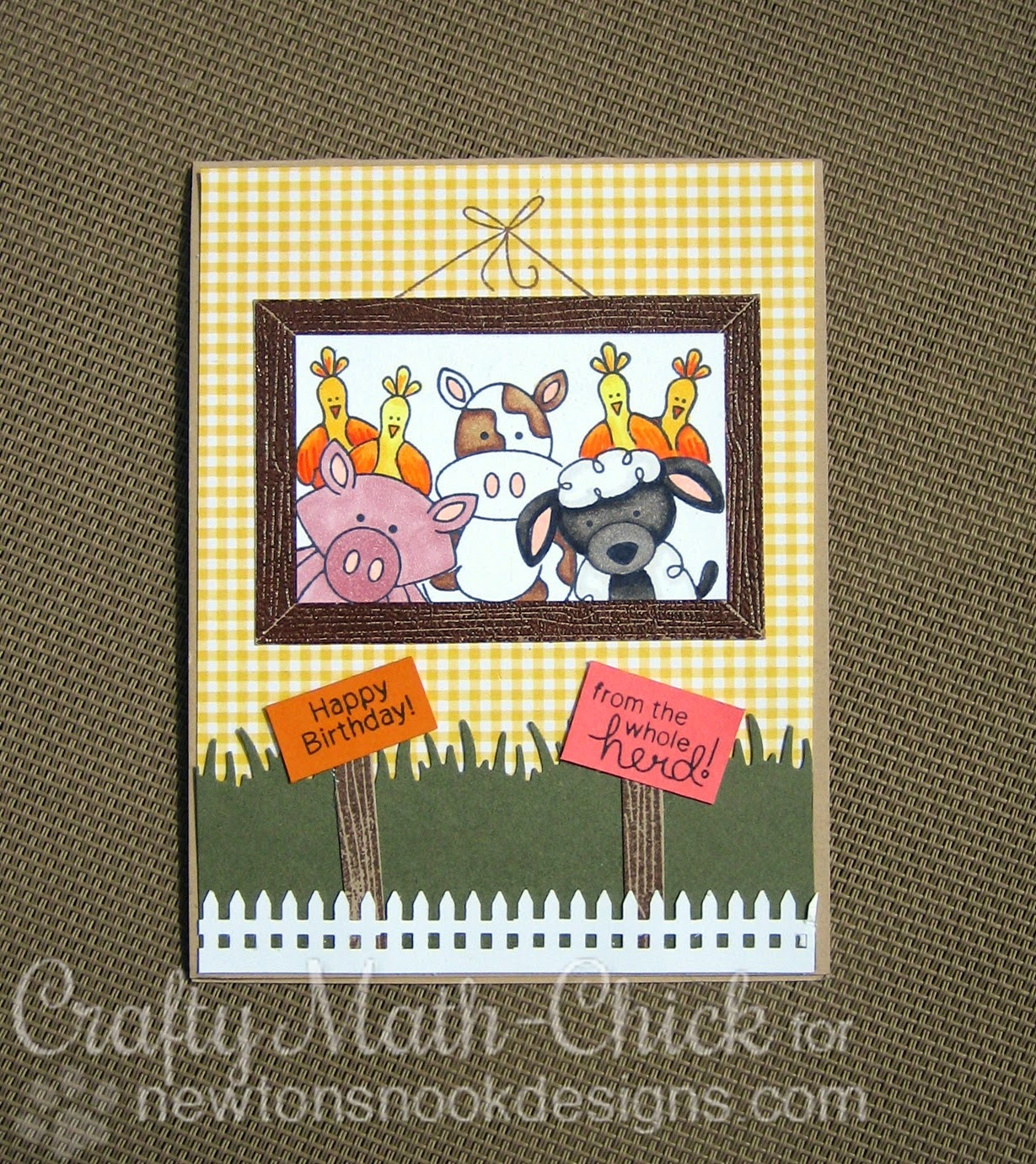 Farmyard Friends selfie card by Crafty Math Chick | Farmyard Friends by Newton's Nook Designs