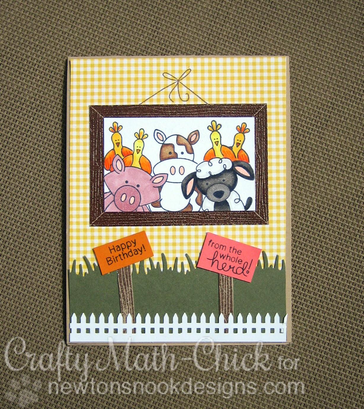 Farmyard Friends selfie card by Crafty Math Chick   Farmyard Friends by Newton's Nook Designs