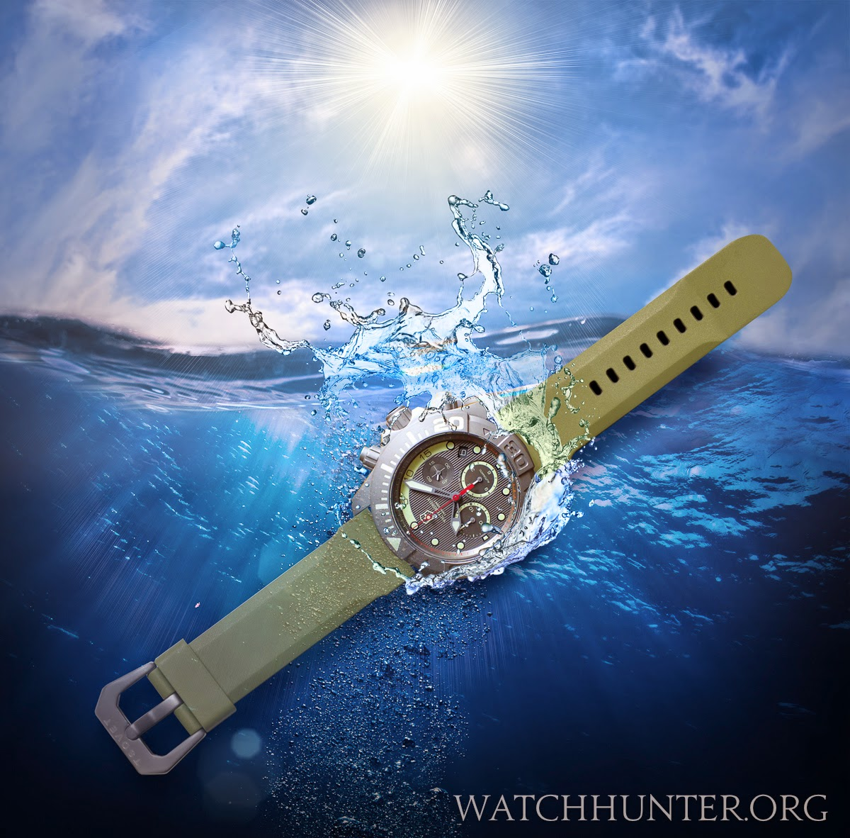 Digital fantasy image of Victorinox Swiss Army Limited Edition Titanium Dive Master 500 on olive green Tsovet watch band