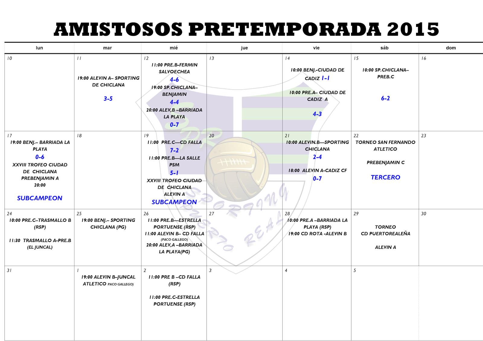 Sporting De Puerto Real Horarios Para La Semana Del 24 Al