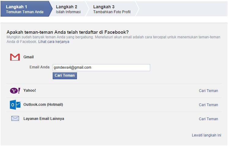 pendaftaran facebook tahap 1