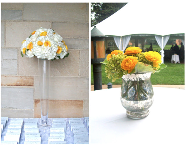 The place card table featured a pilsner vase full of mounded soft white and yellow blooms hydrangea, roses, and ranunculus, Cocktail tables featured a mercury glass vase of mini green hydrangea and yellow ranunculus sweet pea floral design wedding ann arbor michigan detroit