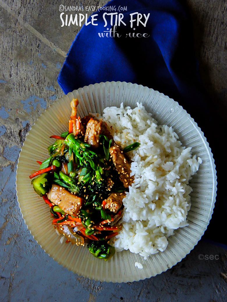 Simple Pork Stir Fry with rice #recipe