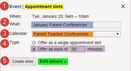 click on the starting datetime that you would like the appointment times to begin