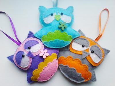 игрушки из фетра, сова из фетра, новогодние игрушки из фетра