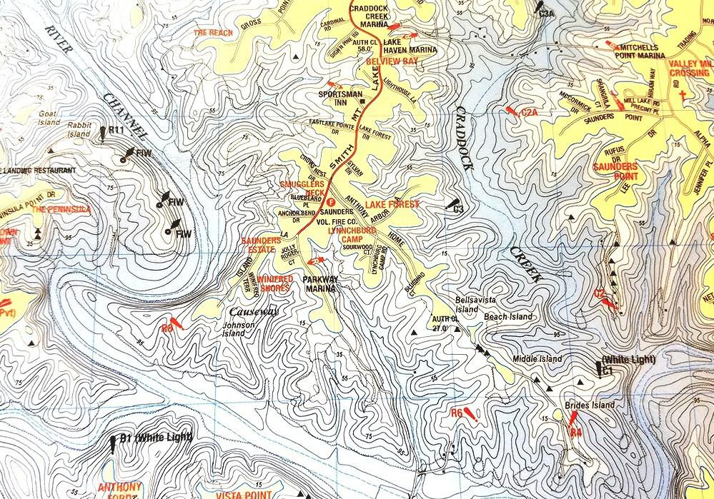 Smith Mountain Lake Map Of Smith Mountain Lake Va