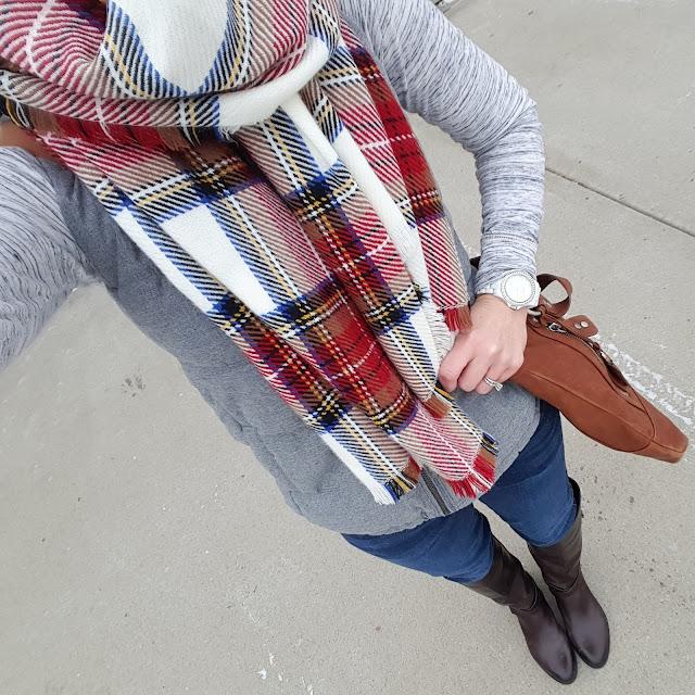 Gap Heathered Tee (similar) // Old Navy Fleece Lined Vest // Joe's Jeans // Vince Camuto Jaran Riding Boots // Merona Scarf // Ellington Handbag (similar) // Fossil Watch (similar under $50)