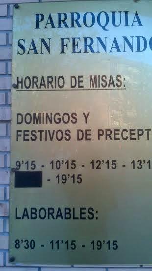 Horarios Misa Parroquia San Fernando.