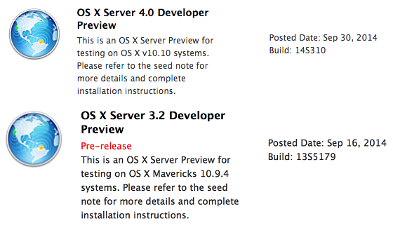 Mac OS X Server 4 (14S310) & Server 3.2 (13S5179) Developer Preview