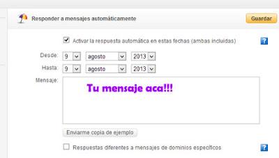yahoo mail respuestas automaticas
