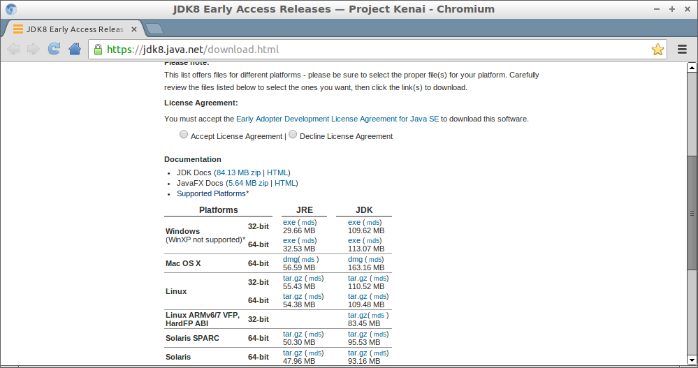 JDK8 Download page