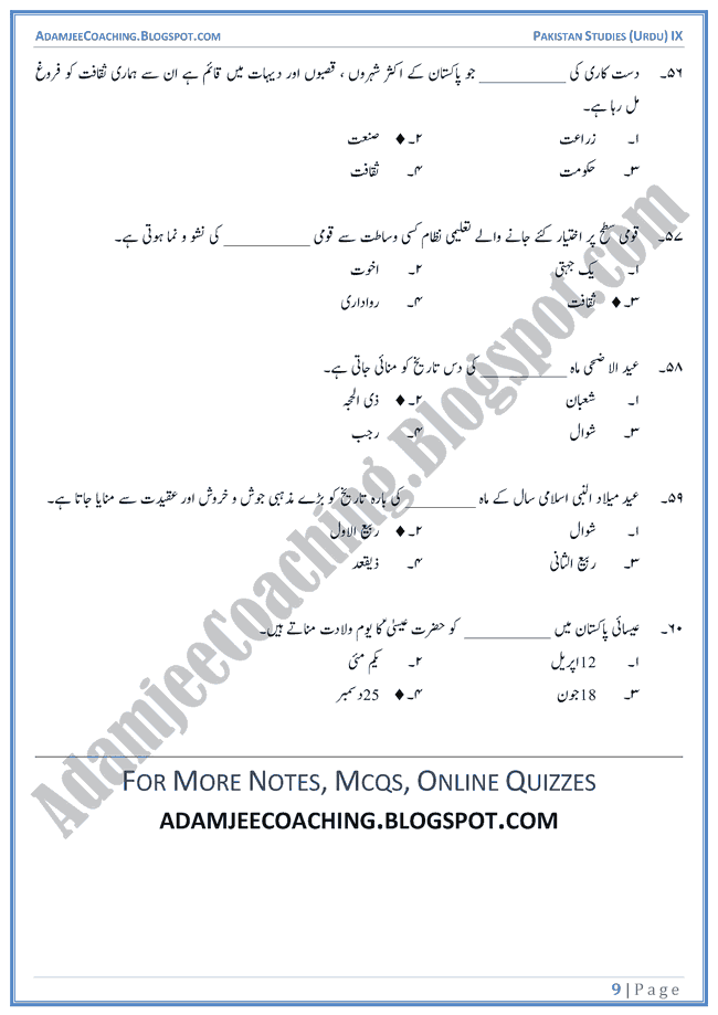 culture-of-pakistan-mcqs-pakistan-studies-urdu-ix