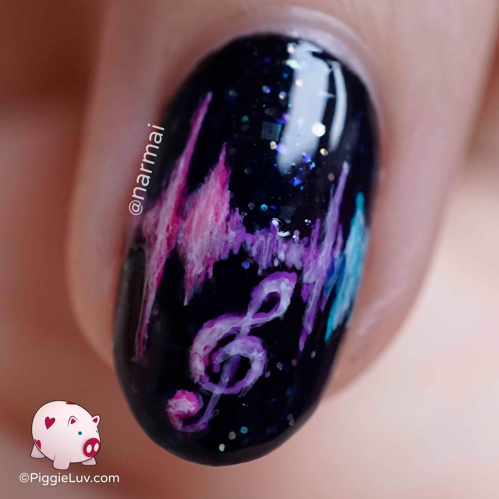 PiggieLuv: Freehand sound waves nail art