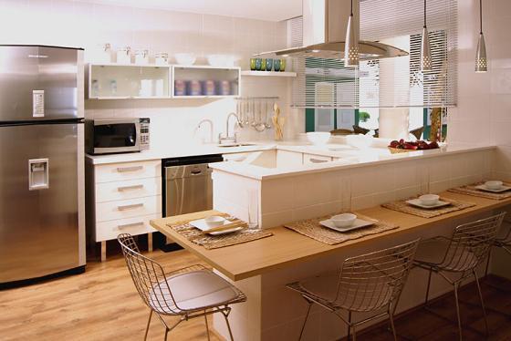 Tipos de cozinha americana +15 fotos e medidas para bancadas!  Decor Alterna # Bancada Para Cozinha De Alvenaria