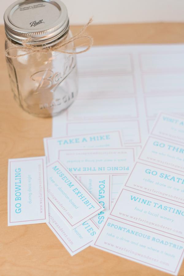 Date Night Idea Jar DIY + Free Printable | Easy Valentine Day Gift Idea