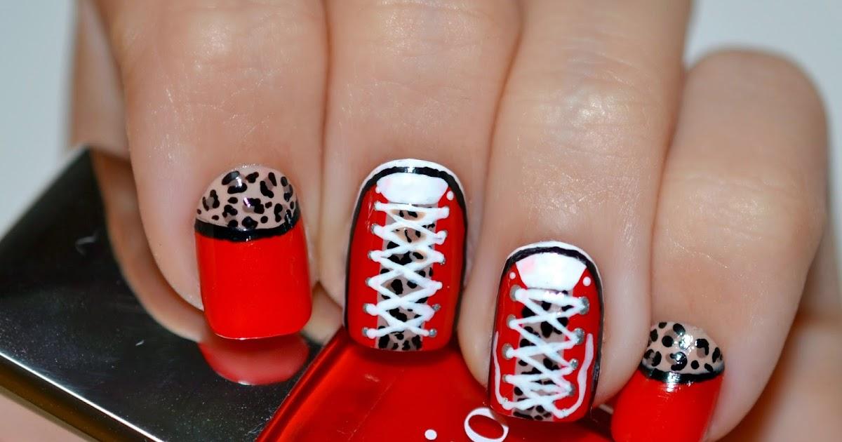 Converse nails with animal print nail art lovingcosmetic for Decoracion de unas converse