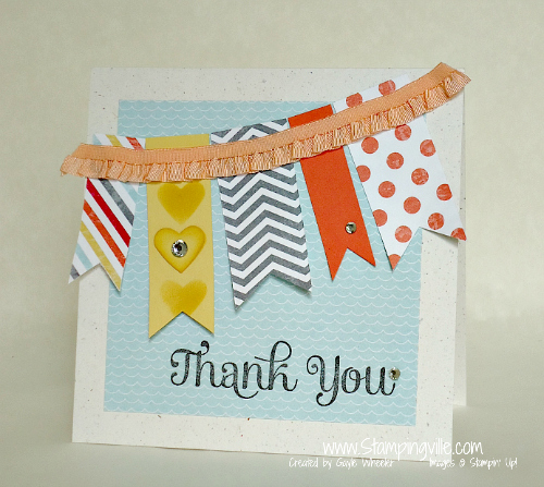 Thank You card with easy flagged banner