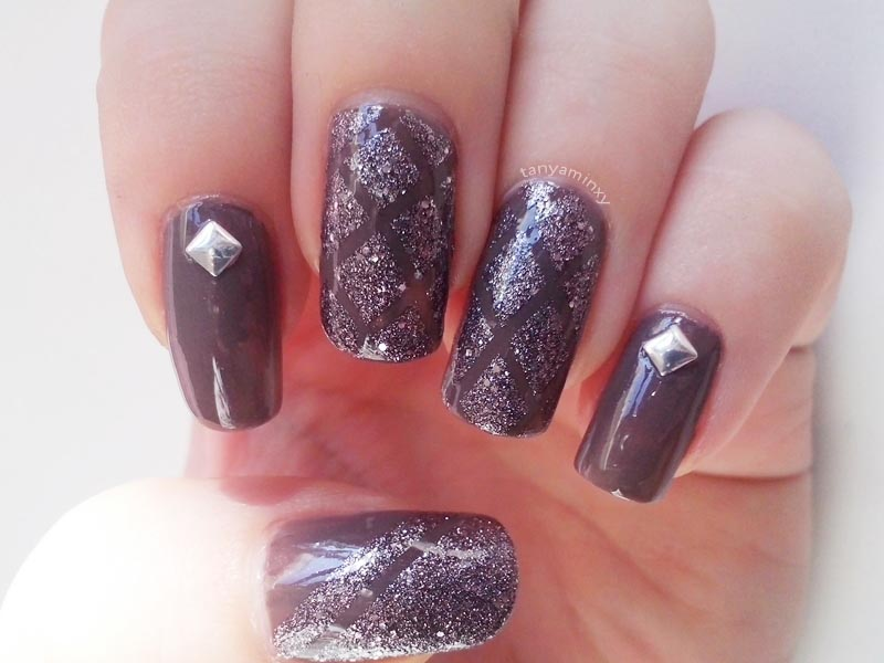 Silver Glitter Striping Tape Studs Nails Nail Art Design Manicure Avon Stardust Silver Crystals