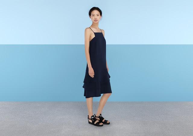 navy frill dress, navy finery dress, navy cami dress,