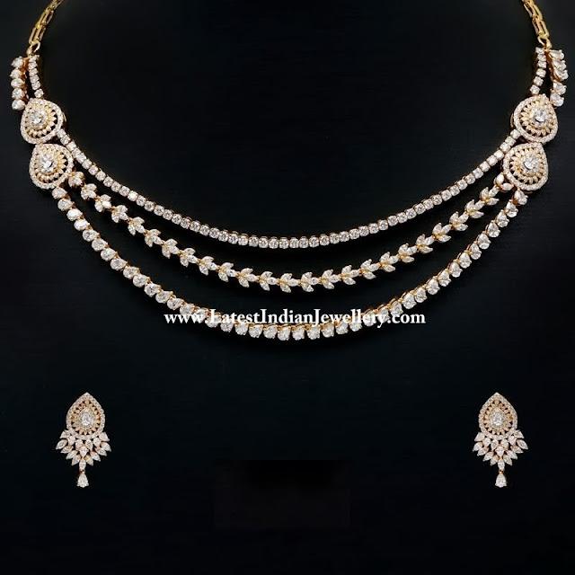 Precious Designer Diamond Necklace Set Latest Indian