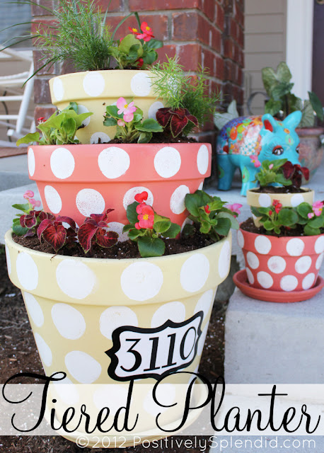 polka dotted tiered planter