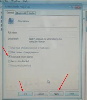 14. Pada jendela baru, hanya ceklis Password never expires saja, selanjutnya klik Apply lalu OK
