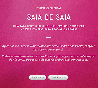 Concurso Cultural: Veet | Saia de Saia