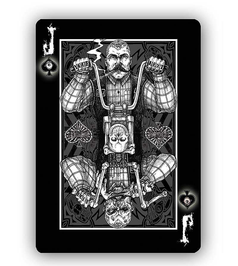Zombies motorcycles and poker zombie riders playing cards by gavin illustrated playing cards will be available as a black or white deck with ornately decorated face cards from original his hand inked illustrations colourmoves Choice Image