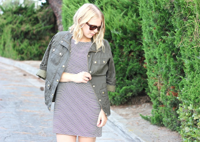 Shae Roderick, OC Style Blogger, Striped Dress, Field Jacket