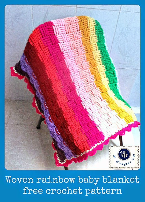 crochet basket weave stitch blanket, crochet rainbow blanket