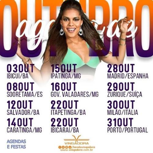 AGENDA DE SHOWS DE OUTUBRO BANDA VINGADORA 2016