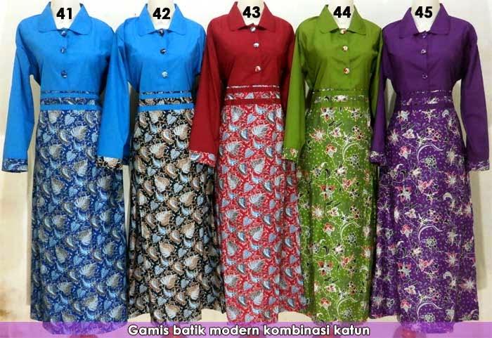 baju-gamis-batik-kombinasi-modern-model-terbaru