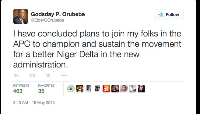 Tweet Orubebe Reportedly Dumps PDP For APC