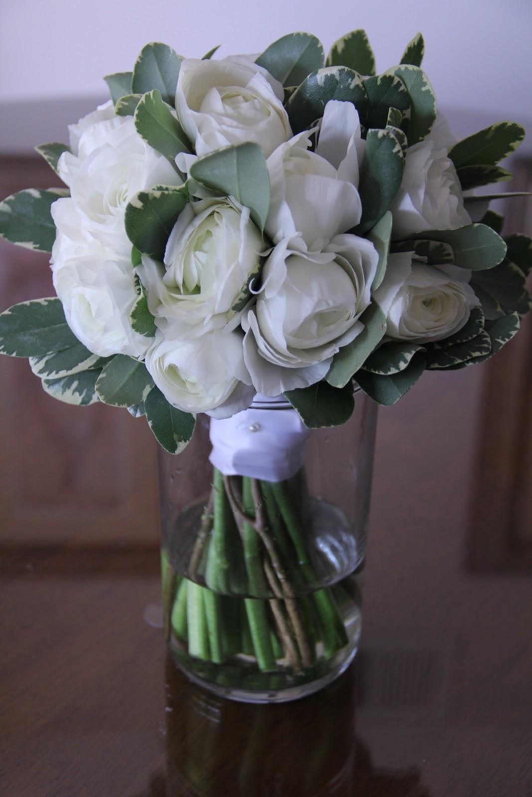 Sea of blossoms white ranunculus bouquet