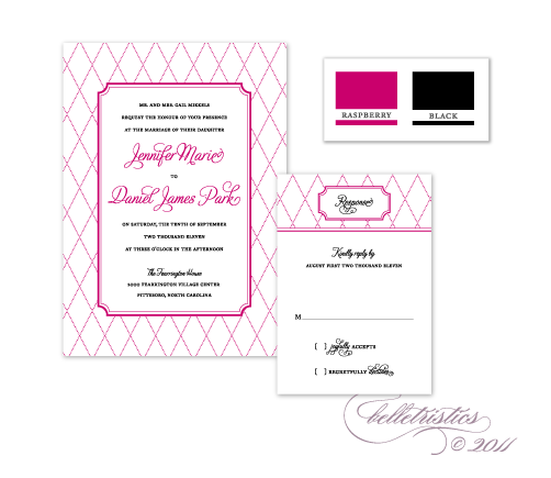 hot pink black printable diy wedding invitation design