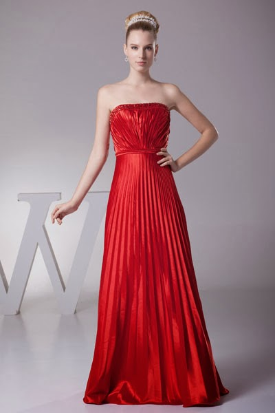 Long red strapless bridesmaid dress