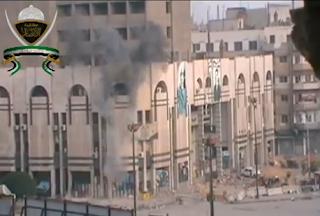 كتيبة الانصار تستهدف مقر شرطة حمص بمدفع B10