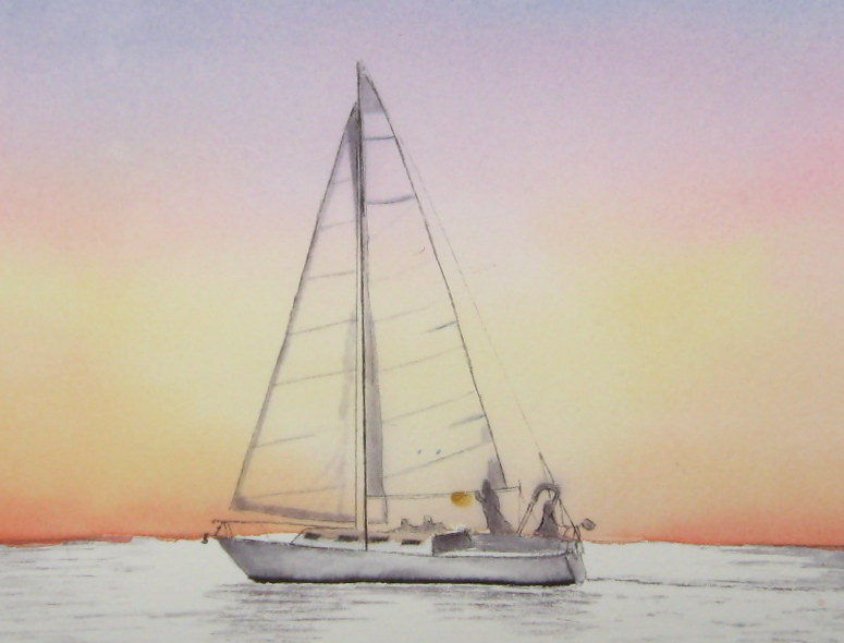 Eclectic Studio: Sailboat at sunset tutorial