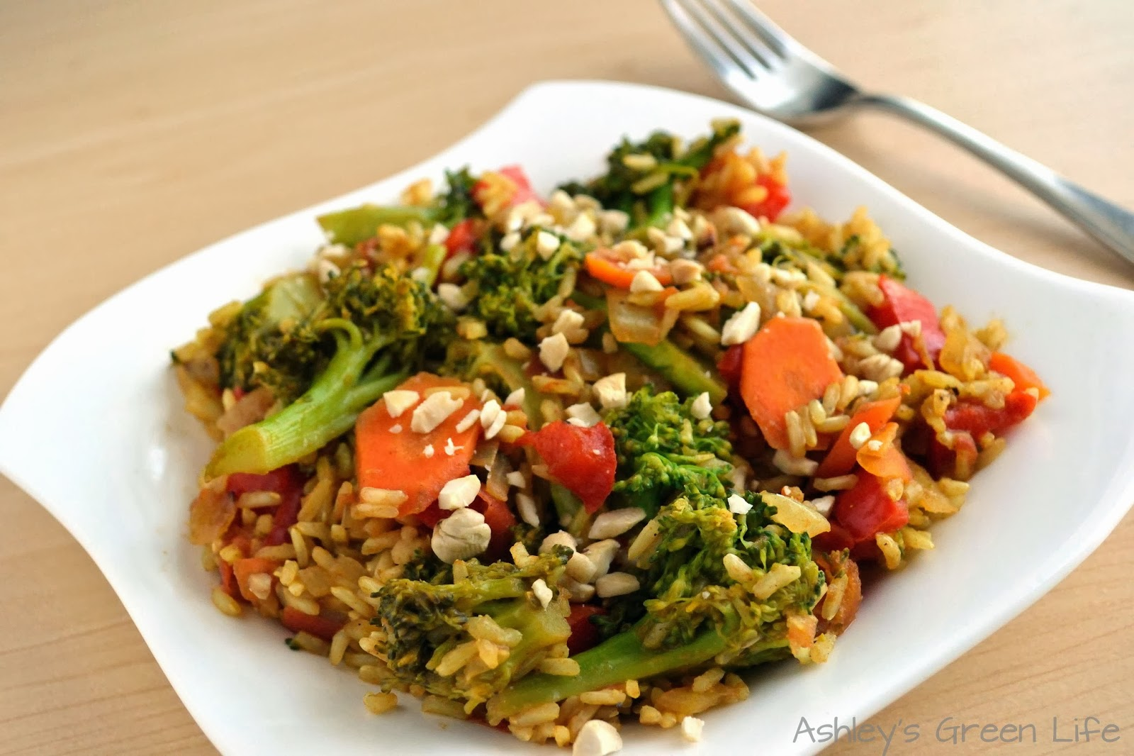 "Rainbow Veggie Stir-Fry "" with broccoli, rice, carrots,"